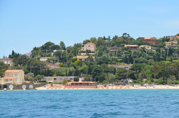 St Clair beach of the Lavandou - view from the sea