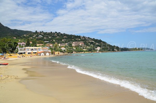 St Clair beach in Lavandou and view on the Fossette