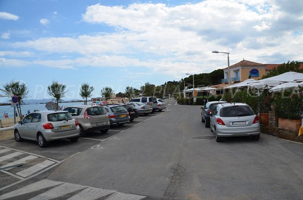 Car park of the St Clair beach in Lavandou