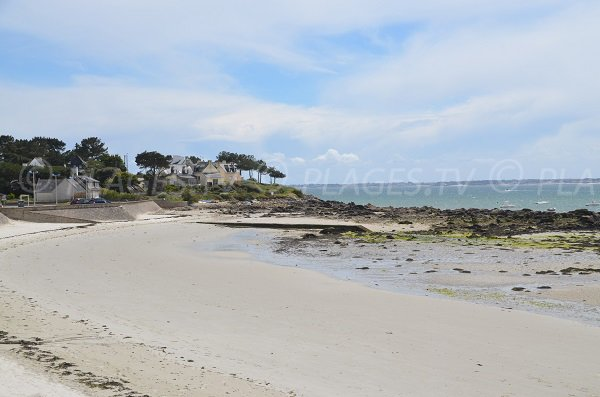Beach with view on the point of St Colomban in Carnac
