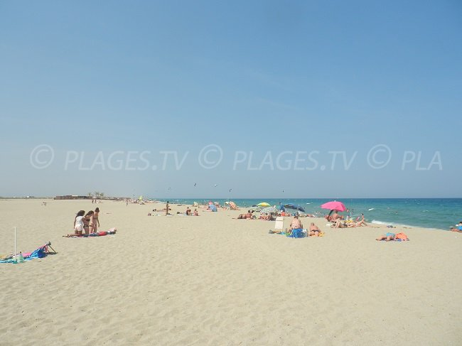 Sand beach in St Cyprien in south of France