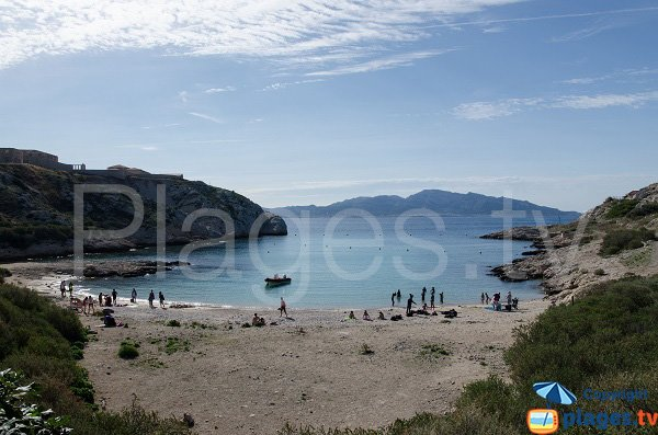 St Esteve cove in Frioul and view on Madrague in Marseille
