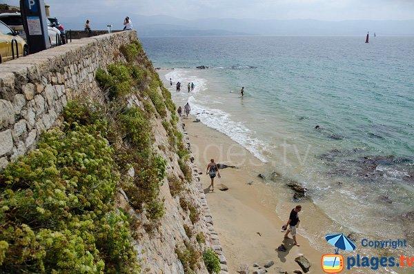 Sand beach in center of Ajaccio