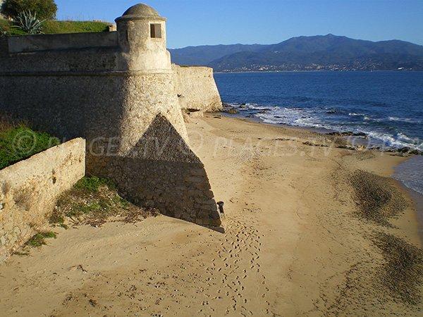 Beach at the foot of the citadel of Ajaccio - Corsica