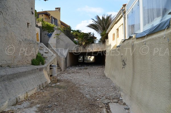 Tunnel access for the St Jean beach in France