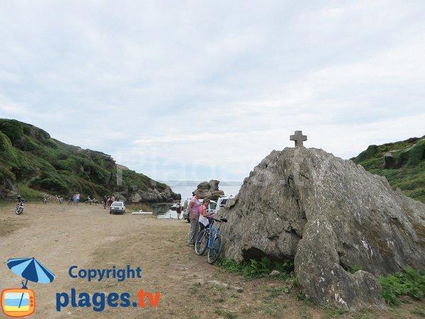 Parking de la plage de Port St Nicolas sur l'ile de Groix