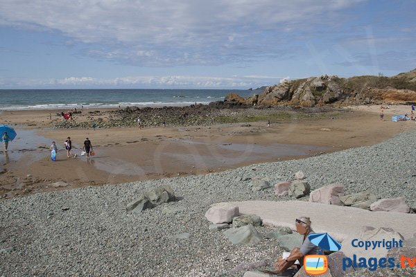 Rock and sand on the beach of Erquy - St Pabu