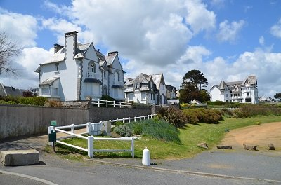 Houses on the beach in St Quay Portrieux in Brittany