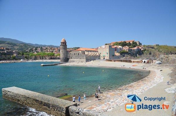 Vue sur les plages de St-Vincent et Boramar à Collioure