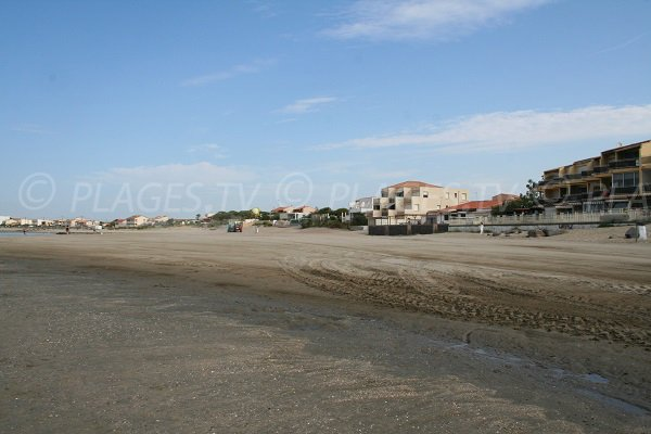 St Vincent beach in Agde and view on Grau d'Agde