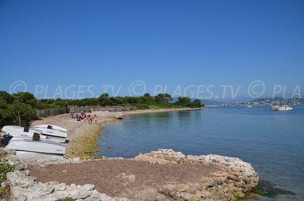 Beach of the island of Lérins at the level of the nautical center