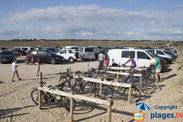 Parking of Sainte Barbe beach in Plouharnel