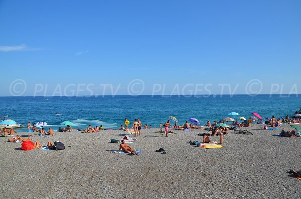 Sainte Helene beach in summer in Nice