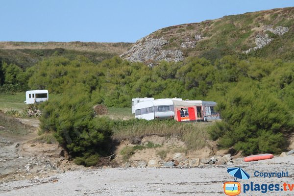 Caravans on the Sauzon beach in Belle Ile
