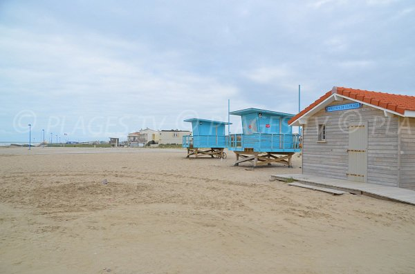 Lifeguard station on the beach of Montalivet
