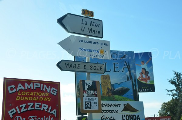 Indication pour trouver la plage de Taglio Isolaccio