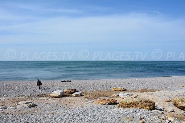 Sand beach near Etretat in France