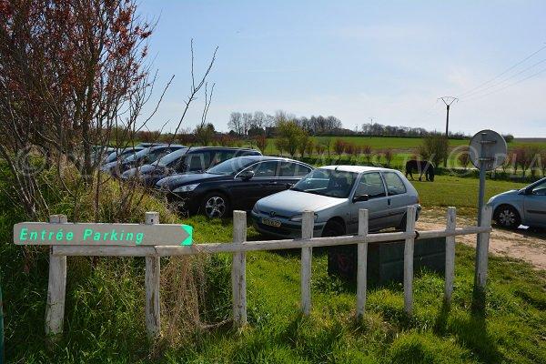 Parking of Tilleul beach in Normandy