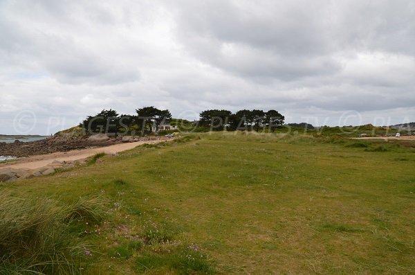 Environnement de pelouse de la plage de Toeno à Trébeurden