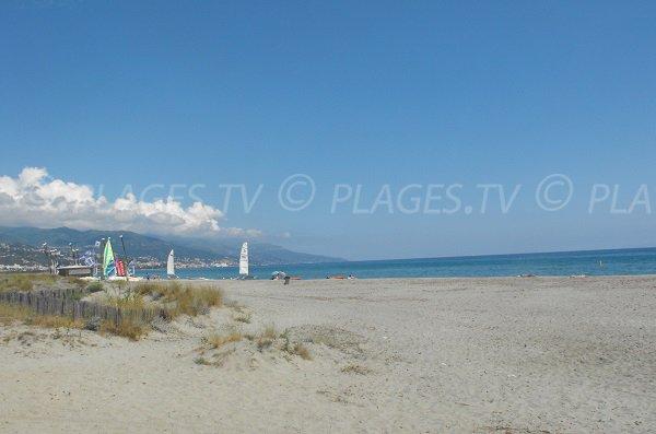 Tombulu Biancu beach in Furiani in Corsica