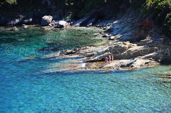 Rocks in Pietracorbara for swimming in Cap Corse