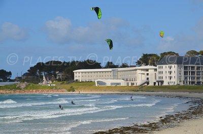 Plage de Trévou Tréguignec où l'on pratique du kitesurf