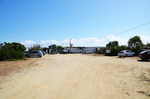 Parking of Tropica beach in Corsica