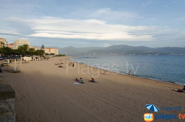 Trottel beach with view on Ajaccio