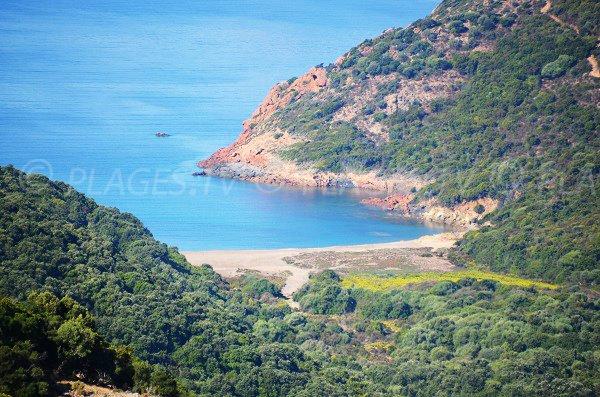 Beach of Tuara in Corsica - Gulf of Girolata