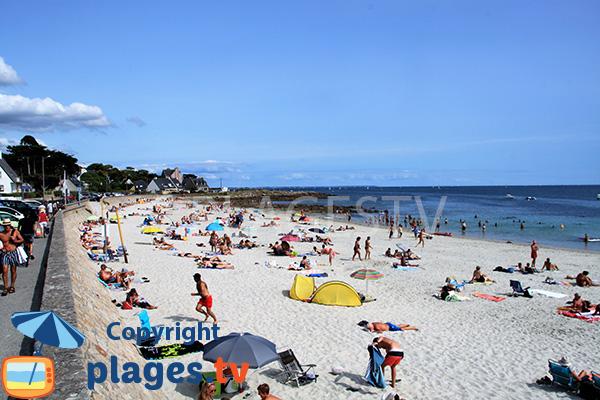 Photo de la plage de Ty Bihan en été à Carnac