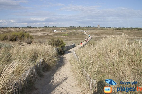 Walk along dunes of Ty Hoche beach in Plouharnel