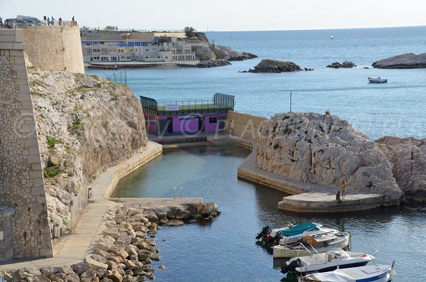 Vallon des Auffes beach - view from Corniche of Marseille