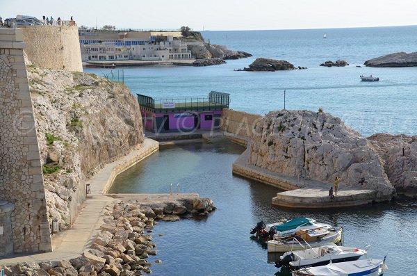 Vallon des Auffes beach - view from Corniche of Marseille