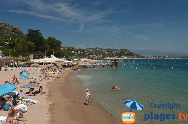 Public and private beaches in Théoule sur Mer in France