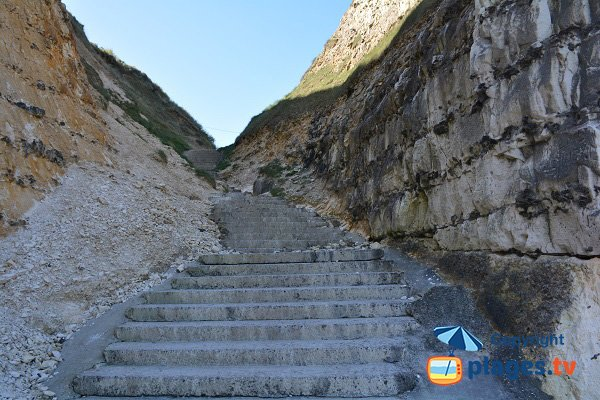 Stairs of Vasterival beach - Normandy