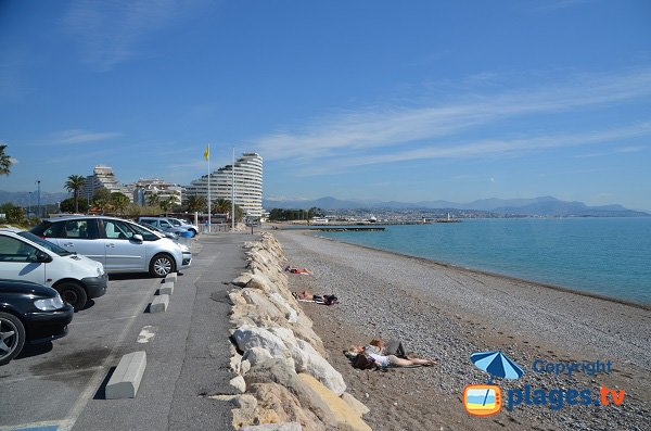 Parking of Vaugrenier beach near Marinas of Villeneuve Loubet