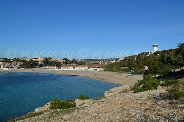 Anse du Verdon avec sa plage de sable à La Couronne