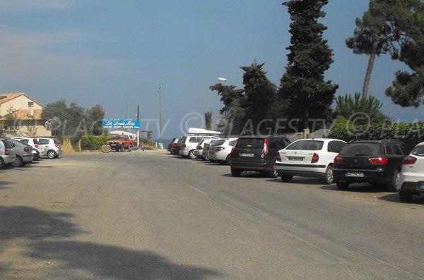 Parking de la plage de la Vignale en Corse