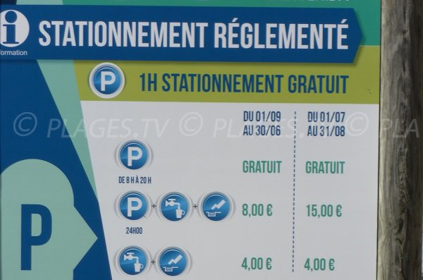 Vivier parking tariff for Biscarrosse