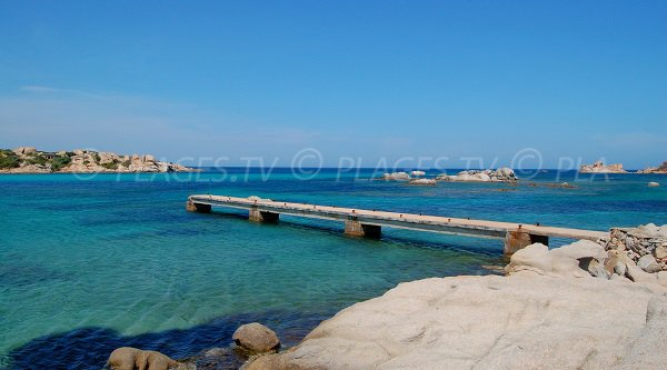 Pontoon on the beach of Zeri on the island of Cavallo