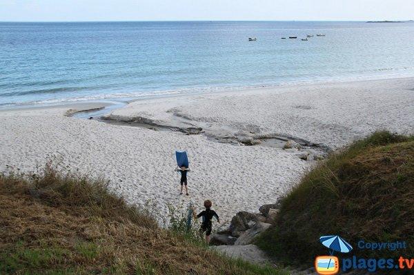 Accès à la plage du Zorn à Plouguerneau