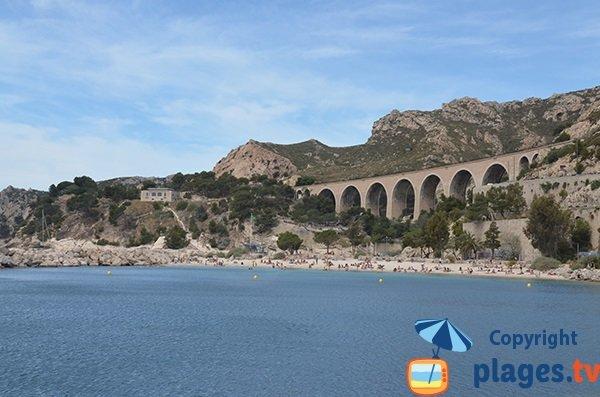 Plage de la Batterie à Marseille face au pont du train bleu