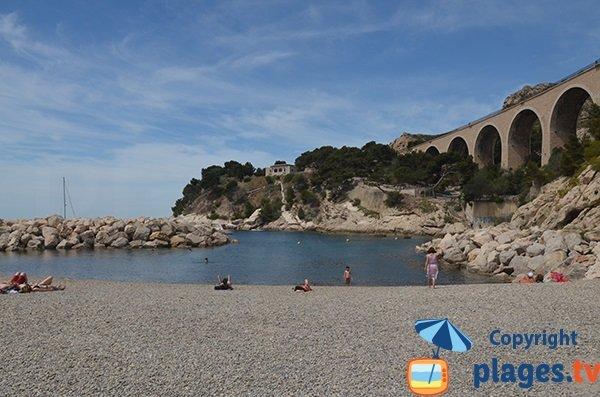 Plage de galets sur la plage des Corbières à Marseille