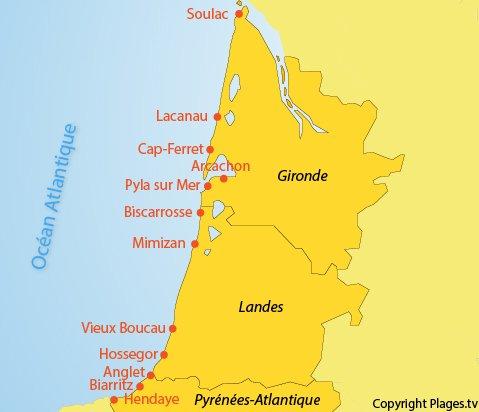Plan des villes en bord de mer en Aquitaine