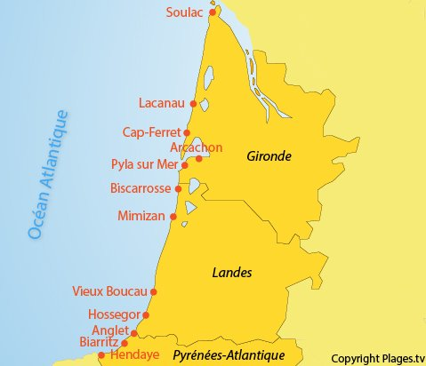 carte espagne ville bord de mer
