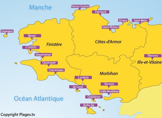 Plan des principales destinations balnéaires en Bretagne