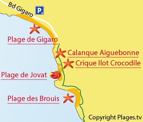 Carte de la calanque d'Aiguebonne - La Croix Valmer