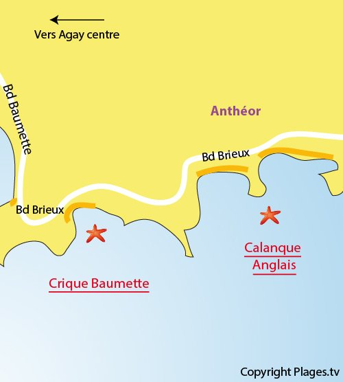 Map of Anglais Cove in Agay Saint Raphaël