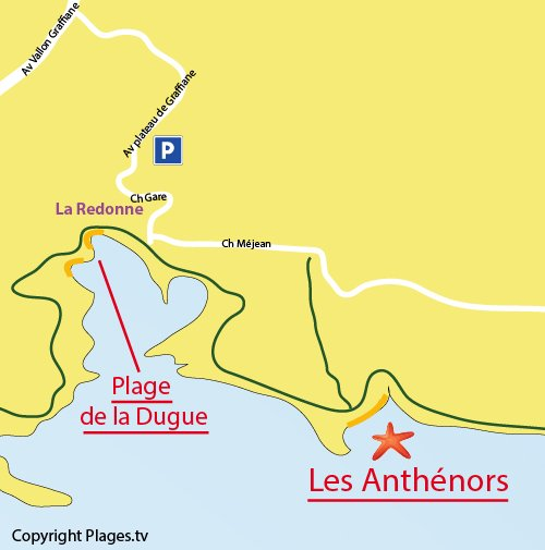 Map of Calanque of Athénors in Blue Coast in France