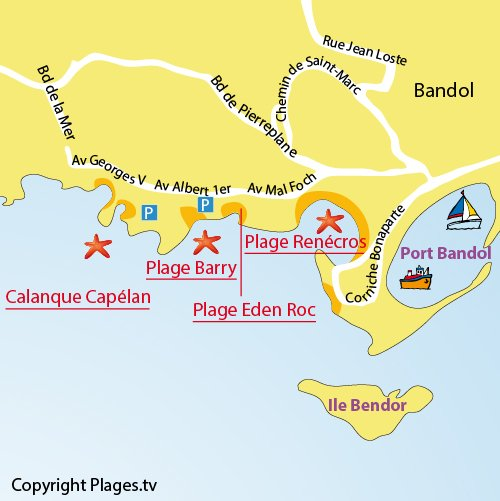 Map of the Capelan Calanque in Bandol